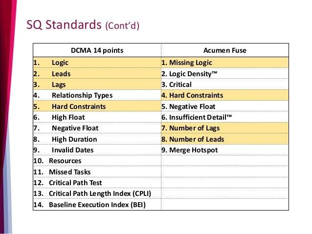 SQ Standards (Cont'd) DCMA 14 points Acumen Fuse 1. Logic 1. Missing Logic 2. Leads 2. Logic Density™ 3. Lags 3. Critical ...