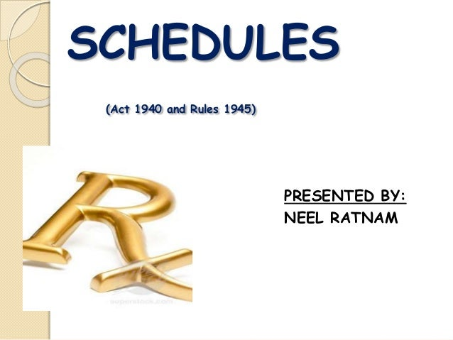 SCHEDULES (Act 1940 and Rules 1945) PRESENTED BY: NEEL RATNAM