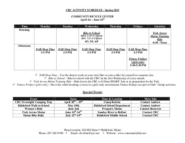 CBC ACTIVITY SCHEDULE - Spring 2013                                                    COMMUNITY BICYCLE CENTER           ...
