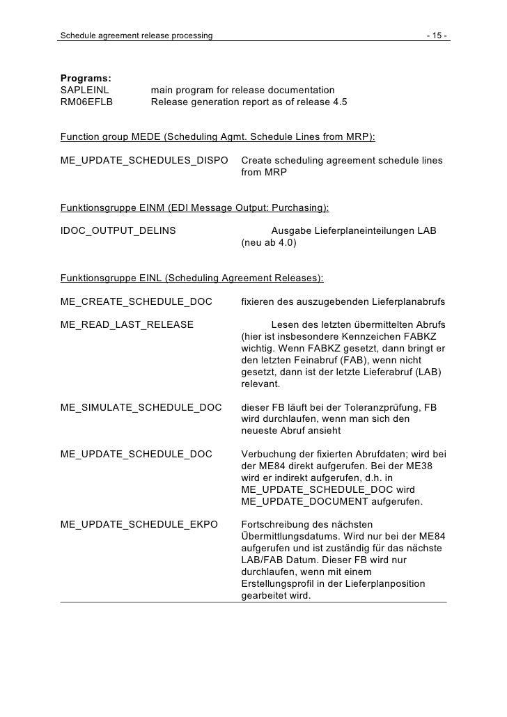 Schedule agreement release processing                                            - 15 -     Programs: SAPLEINL            ...