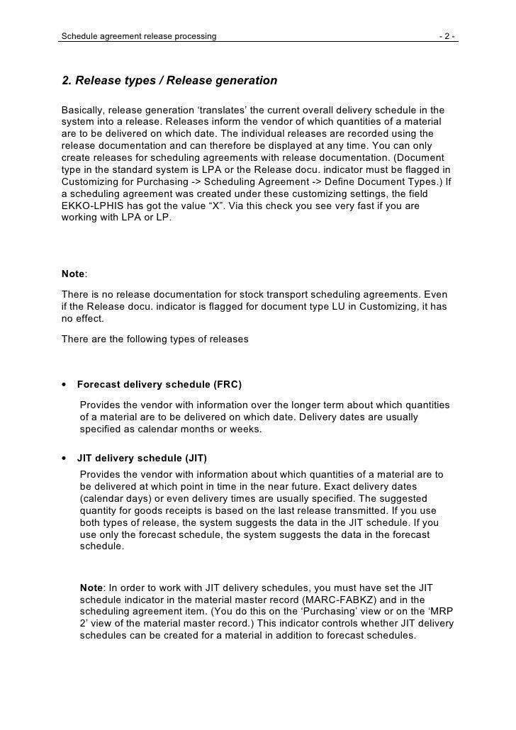 Schedule agreement release processing                                               -2-     2. Release types / Release gen...