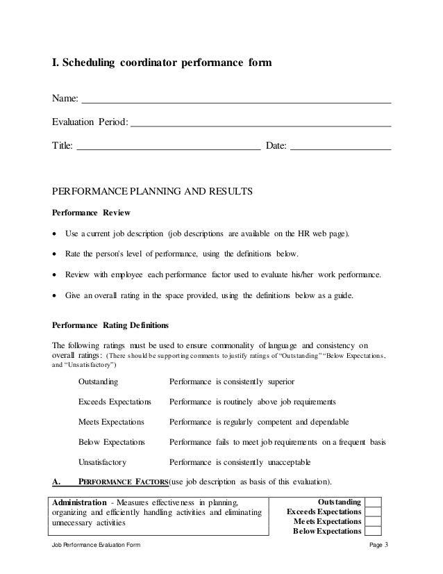 Scheduling Coordinator Perfomance Appraisal