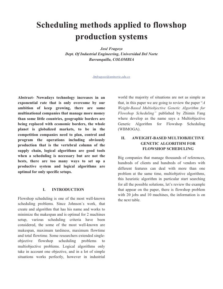 Scheduling methods applied to flowshop                    production systems                                              ...