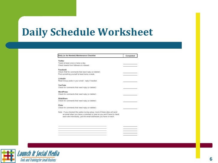 Creating Your Social Media Schedule – Schedule Worksheet