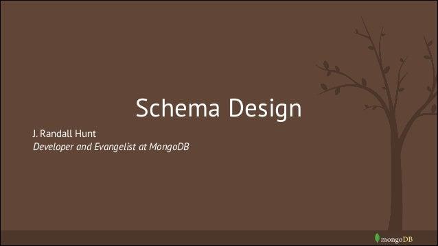Schema Design J. Randall Hunt Developer and Evangelist at MongoDB