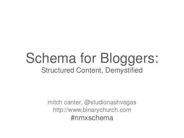 Schema for Bloggers: Structured Content, Demystified  mitch canter, @studionashvegas http://www.binarychurch.com  #nmxsche...