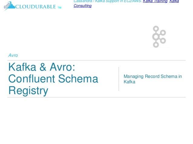™ Cassandra / Kafka Support in EC2/AWS. Kafka Training, Kafka Consulting Avro Kafka & Avro: Confluent Schema Registry Mana...