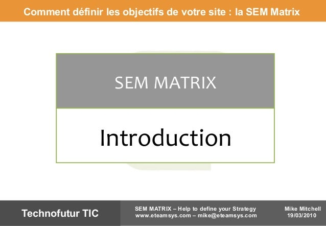 Mike Mitchell 19/03/2010 SEM MATRIX – Help to define your Strategy www.eteamsys.com – mike@eteamsys.comTechnofutur TIC SEM...