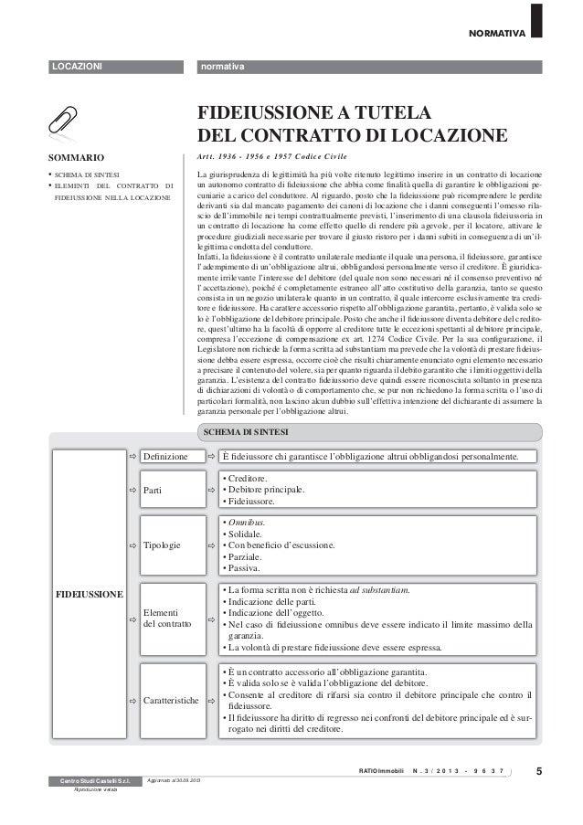 Exceptional Schema Contratto Di Locazione Con Garanzia Fidejussoria. 5 LOCAZIONI  RATIOImmobili N . 3 / 2 0 1 3   9 6 3 7 ...