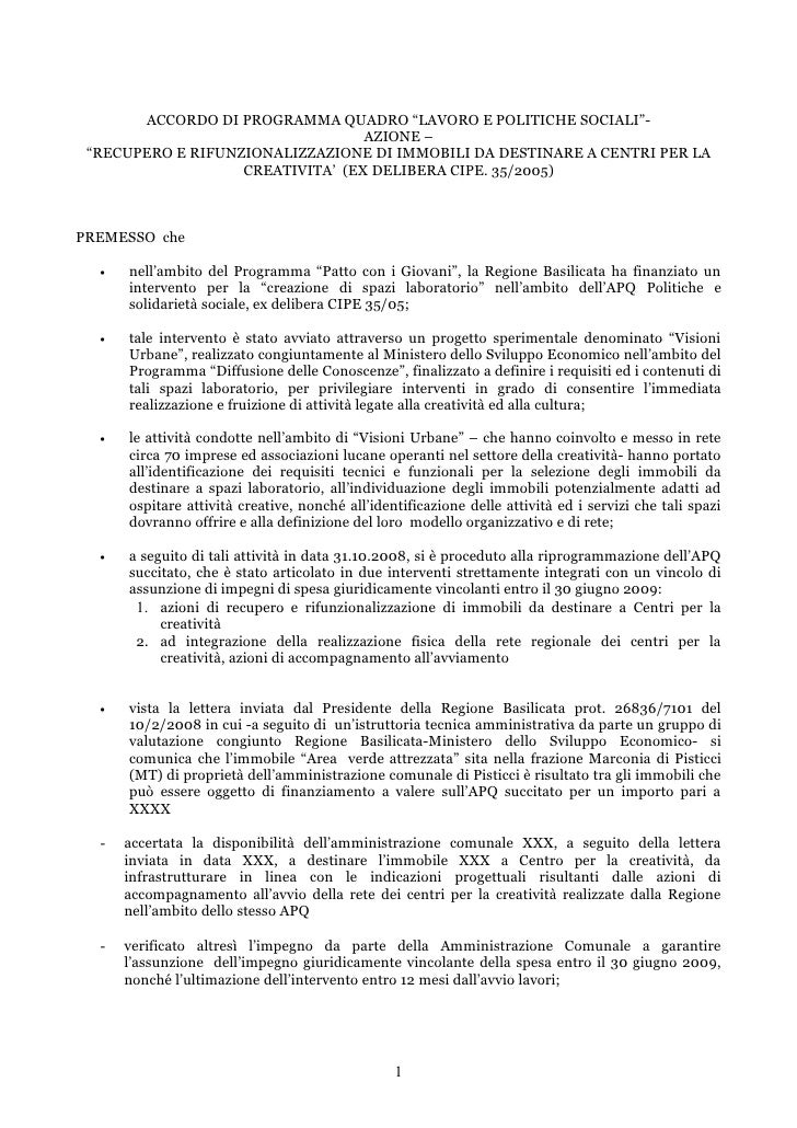 """ACCORDO DI PROGRAMMA QUADRO """"LAVORO E POLITICHE SOCIALI""""-                                   AZIONE –  """"RECUPERO E RIFUNZIO..."""