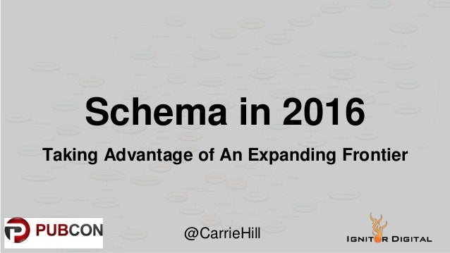 Schema in 2016 Taking Advantage of An Expanding Frontier @CarrieHill