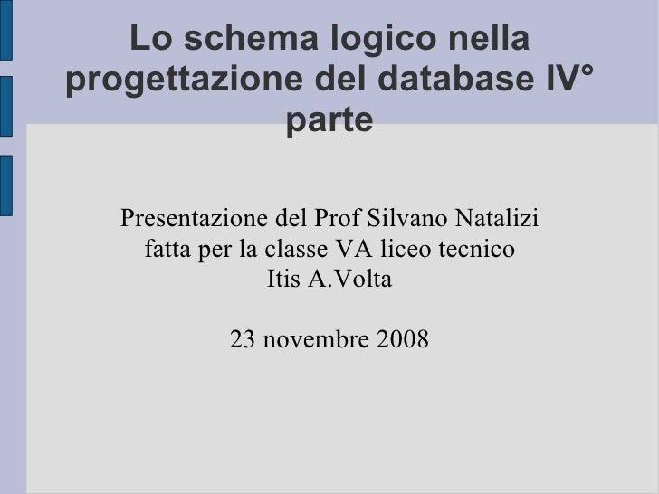 Lo schema logico nella progettazione del database IV° parte Presentazione del Prof Silvano Natalizi fatta per la classe VA...