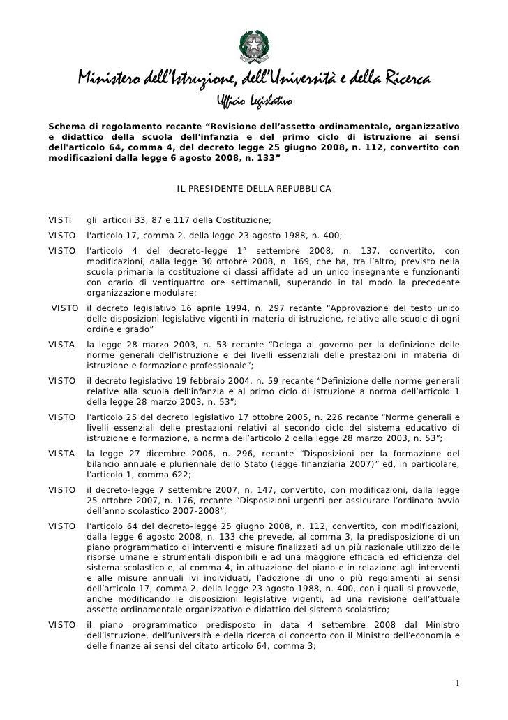 Ministero dell'Istruzione, dell'Università e della Ricerca                                          Ufficio Legislativo Sc...