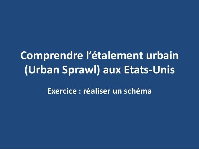 Comprendre l'étalement urbain (Urban Sprawl) aux Etats-Unis Exercice : réaliser un schéma