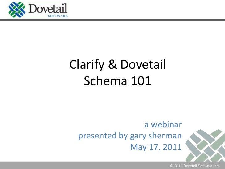 Clarify & DovetailSchema 101<br />a webinar<br />presented by garysherman<br />May 17, 2011<br />