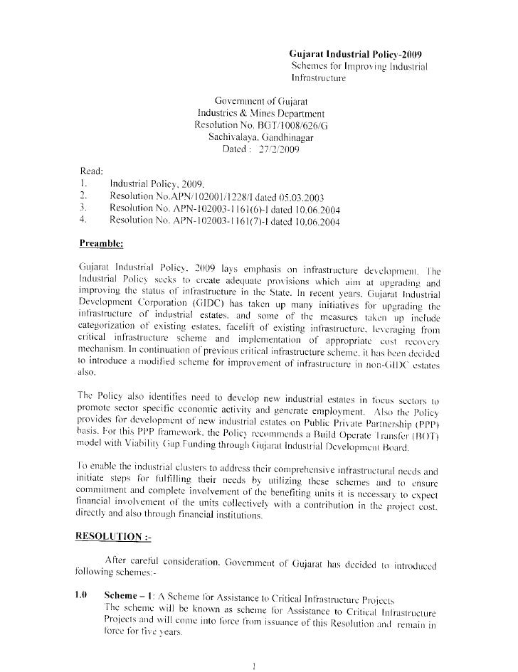 Gujarat Industrial Policy-2009                                                     Schemes for Improving Industrial       ...