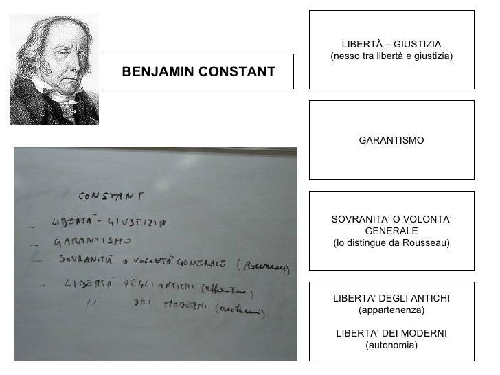 LIBERTÀ – GIUSTIZIA (nesso tra libertà e giustizia) BENJAMIN CONSTANT GARANTISMO SOVRANITA' O VOLONTA' GENERALE (lo distin...