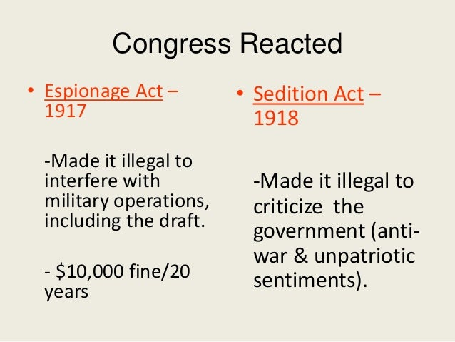 an analysis of the espionage act of 1917 in the united states Balancing national security and free-speech rights: why congress should revise the espionage act  1917, the united states declared war against germany,.