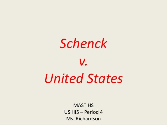 schenck v us essay Schenck v united states (1919) expansion of expression directions read the case background and key question then analyze documents a-i finally, answer the key question in a well-organized essay that incorporates your interpretations of documents a-i, as well as your own knowledge of history.
