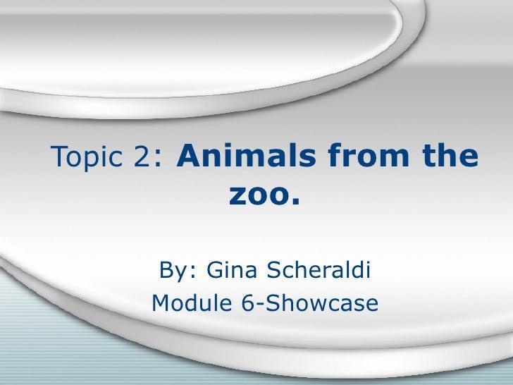 Topic 2 :  Animals from the zoo. By: Gina Scheraldi Module 6-Showcase