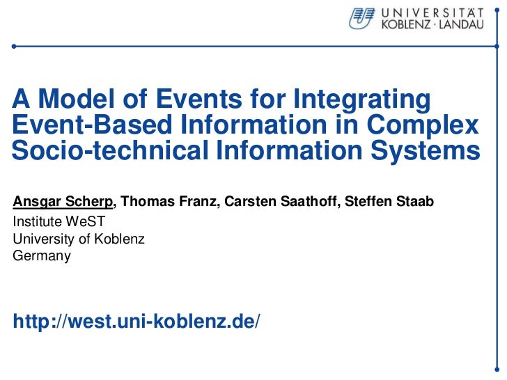 A Model of Events for IntegratingEvent-Based Information in ComplexSocio-technical Information SystemsAnsgar Scherp, Thoma...