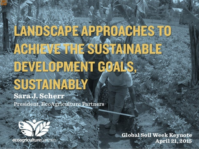 LANDSCAPE APPROACHES TO ACHIEVE THE SUSTAINABLE DEVELOPMENT GOALS, SUSTAINABLY Sara J. Scherr President, EcoAgriculture Pa...