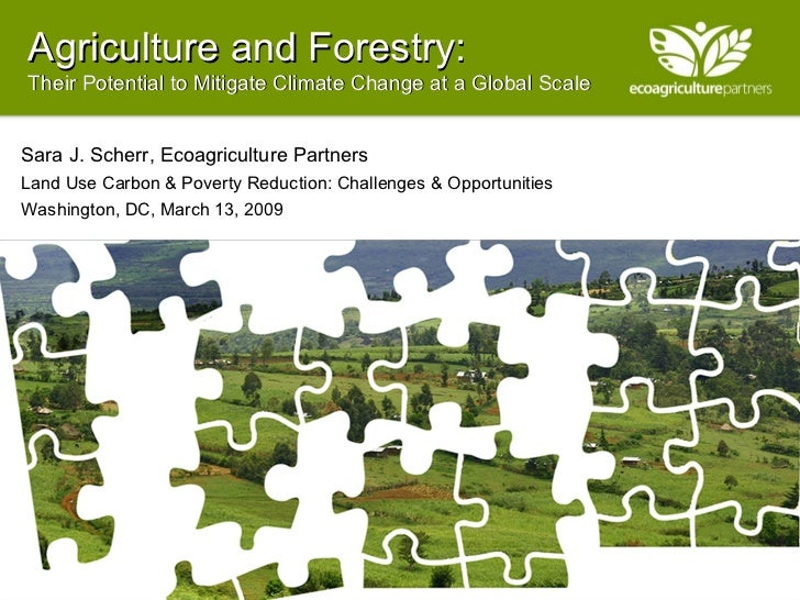 Agriculture and Forestry: Their Potential to Mitigate Climate Change at a Global Scale Sara J. Scherr, Ecoagriculture Part...