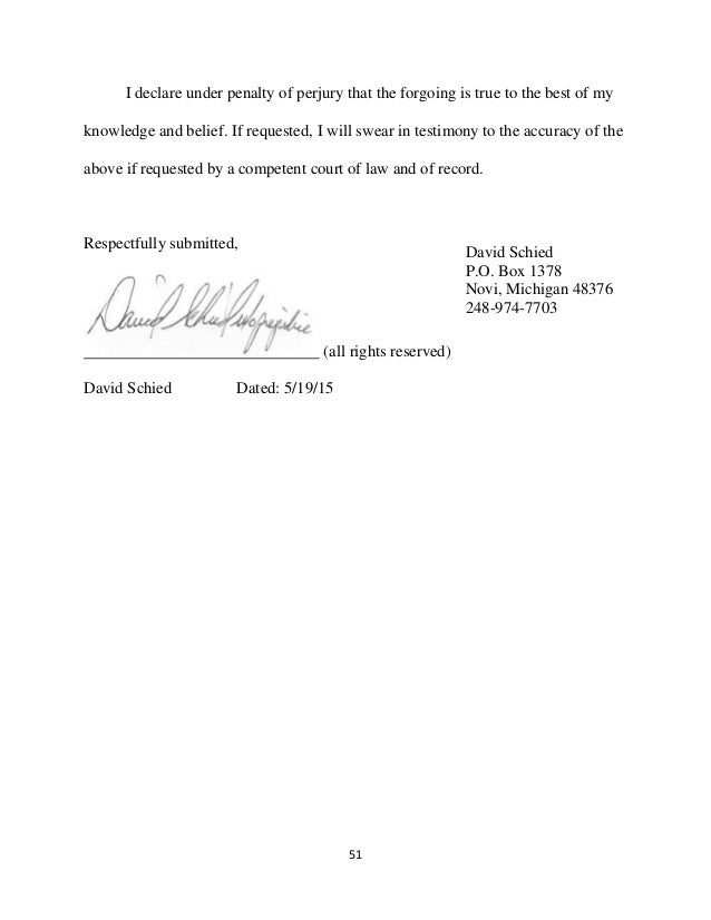 Letter Sample With I Hereby Declare Under Penalty Of Perjury