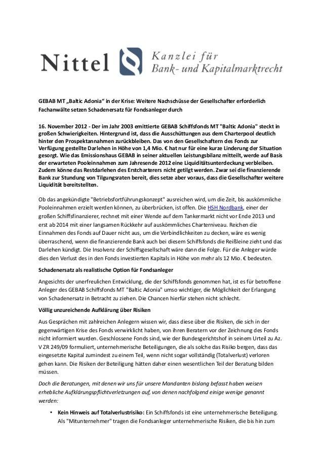 """GEBAB MT """"Baltic Adonia"""" in der Krise: Weitere Nachschüsse der Gesellschafter erforderlichFachanwälte setzen Schadenersatz..."""