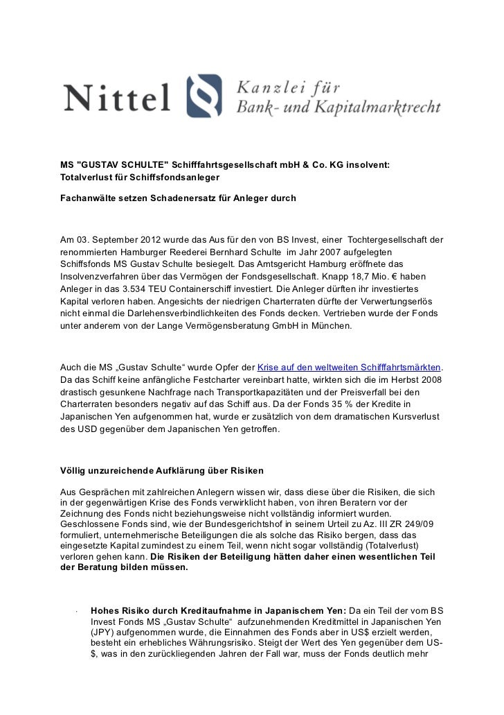 """MS """"GUSTAV SCHULTE"""" Schifffahrtsgesellschaft mbH & Co. KG insolvent:Totalverlust für SchiffsfondsanlegerFachanwälte setzen..."""