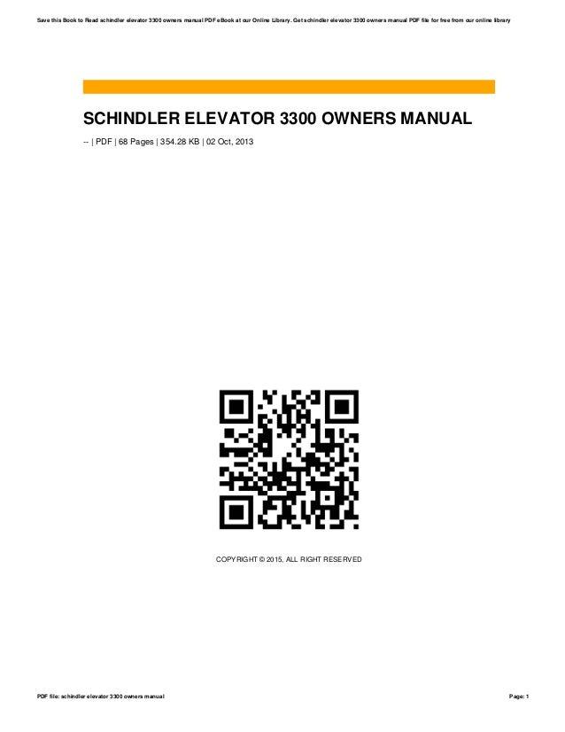 Schindler elevator 3300 owners manual