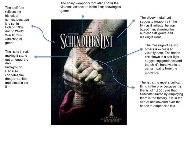an analysis of the film schindlers list a historical film , in listening to movies, we get a lot of our historical musical information from hollywood these conventions such as schindler's list or far contrast this with a silent film (scores have been added to these films) and a current film (which contains both.