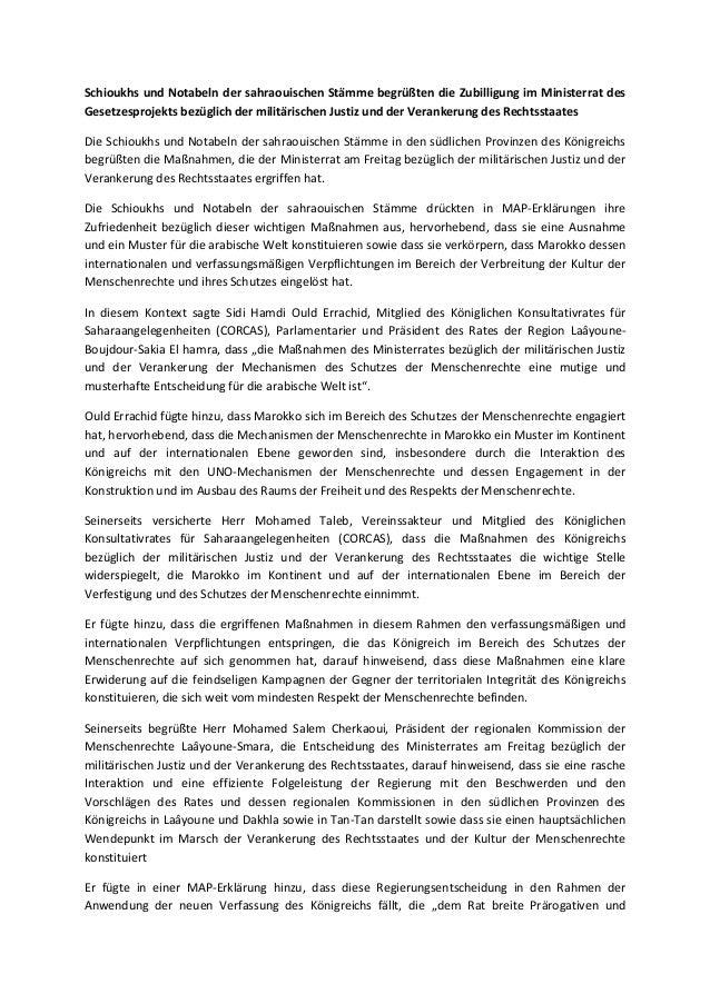 Schioukhs und Notabeln der sahraouischen Stämme begrüßten die Zubilligung im Ministerrat des Gesetzesprojekts bezüglich de...