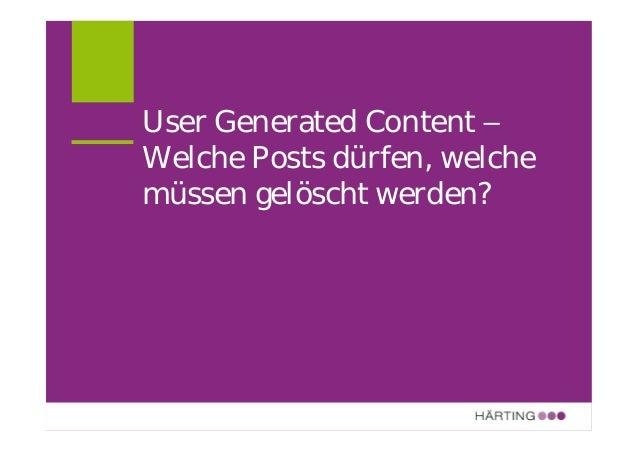 ALLFACEBOOK MARKETING CONFERENCE Verantwortlichkeit für fremde Inhalte? (Problem-) Fälle Kommentare in Blogs Postings auf ...