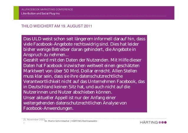 ALLFACEBOOK MARKETING CONFERENCE DATENSCHUTZ Like-Button und Social Plug-Ins