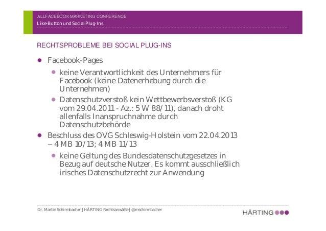 ALLFACEBOOK MARKETING CONFERENCE Like-Button Problem: Erhebung von IP-Adressen von Mitgliedern und anderen Erhebung durch ...