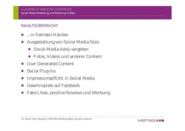 ALLFACEBOOK MARKETING CONFERENCE …in fremden Händen Ausgestaltung von Social Media Sites Social Media Addy vergeben Fotos,...