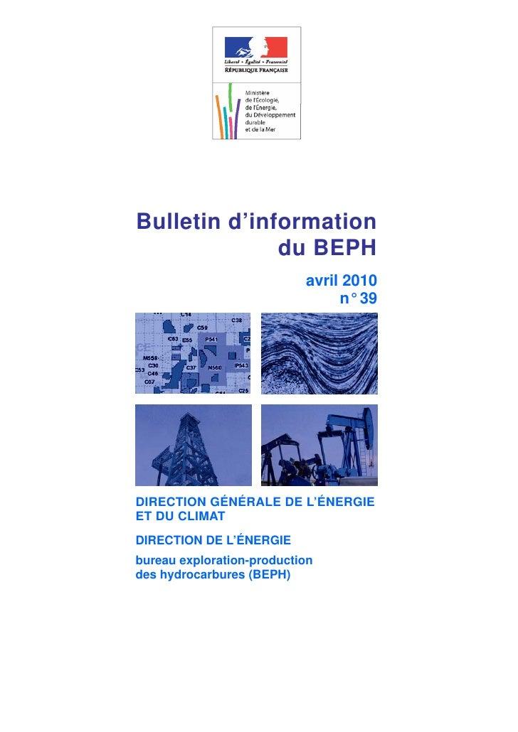 Bulletin d'information              du BEPH                           avril 2010                                n° 39DIREC...