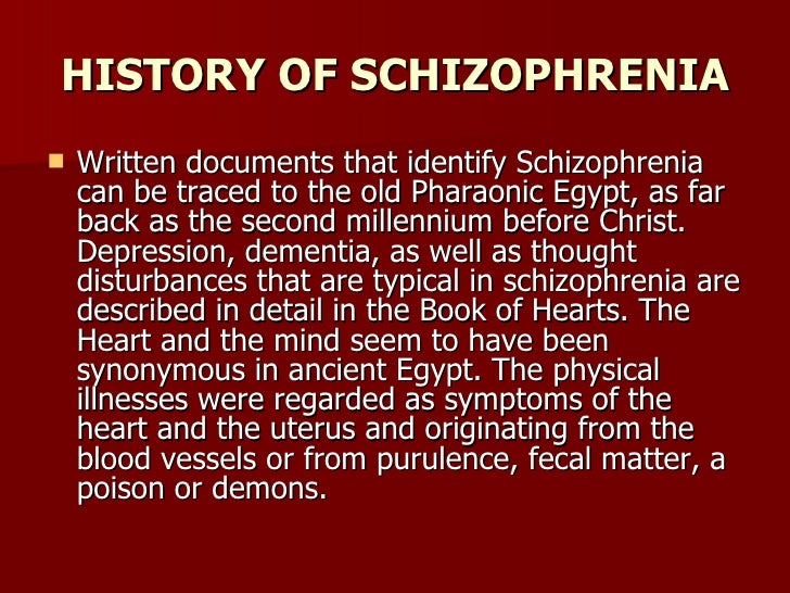 history of schizophrenia Sometime around 1907, by eugen bleuler: bleuler introduced the term schizophrenia to the world in a lecture in berlin on 24 april 1908 however, perhaps as early as.