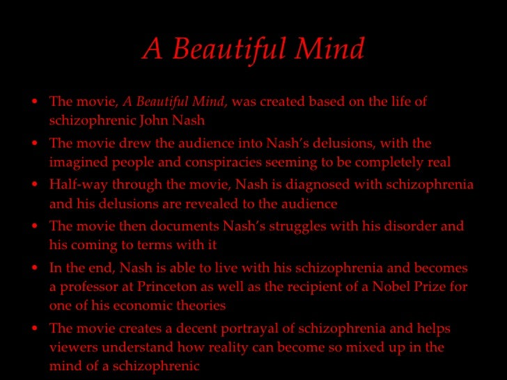 an analysis of a beautiful mind A beautiful mind a beautiful mind is a touching, emotionally charged film detailing the life of a brilliant academic who suffers from schizophrenia this affliction slowly takes over his mind and we watch as his life crumbles apart around him.