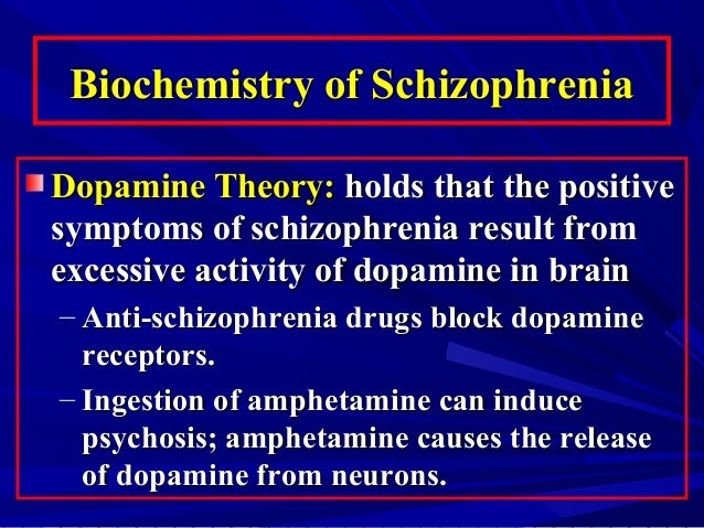 schizophrenia and dopamine hypothesis The main biochemical explanation for schizophrenia is the dopamine hypothesisthis idea is based on the role of chemical messengers between nerve cells called neurotransmittersthere seems to be a chemical imbalance in the action of the neurotransmitter dopamine in the brains of those with schizophrenia.