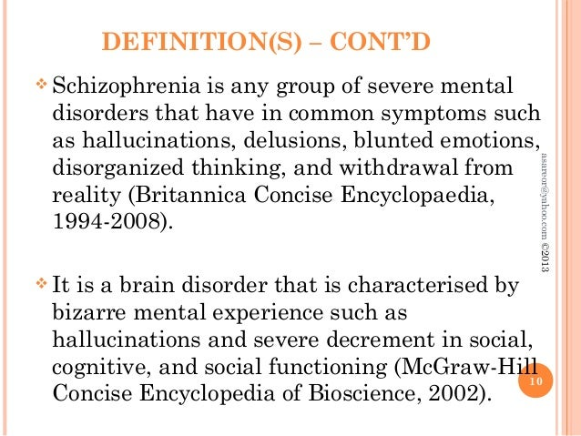 definition of paranoid schizophrenia Aim of this essay is to clarify the current viewpoint on what causes schizophrenia the development of causation models will be discussed.
