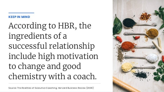 According to HBR, the ingredients of a successful relationship include high motivation to change and good chemistry with a...