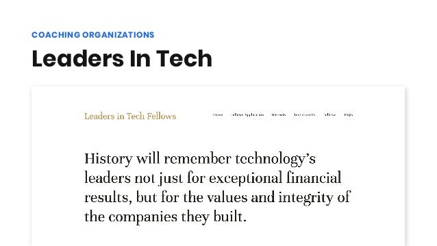 Leaders In Tech COACHING ORGANIZATIONS