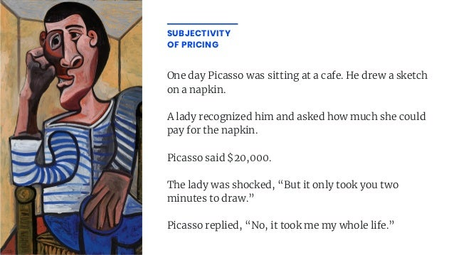One day Picasso was sitting at a cafe. He drew a sketch on a napkin. A lady recognized him and asked how much she could pa...