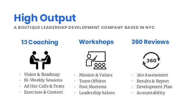 A BOUTIQUE LEADERSHIP DEVELOPMENT COMPANY BASED IN NYC 1:1 Coaching Workshops 360 Reviews • Vision & Roadmap • Bi-Weekly S...