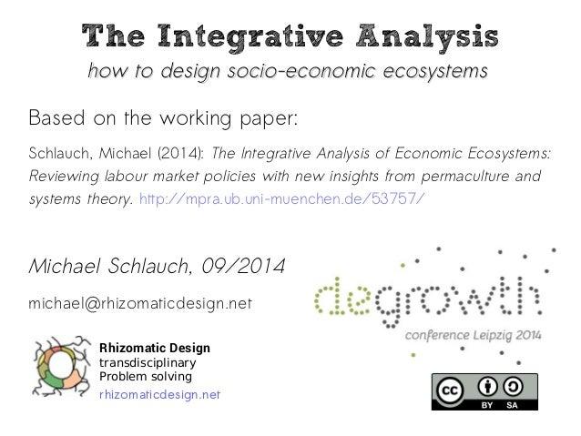 The Integrative Analysis  how ttoo ddeessiiggnn ssoocciioo--eeccoonnoommiicc eeccoossyysstteemmss  Based on the working pa...