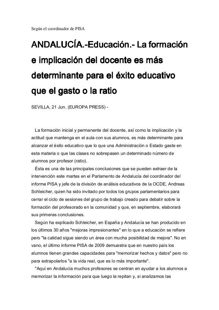 Según el coordinador de PISA$1$/8&$( G X F D F L µ Q  /D I R U P D F L µ Q$1$/8$                  H LP S OLF D F Lµ Q G ...