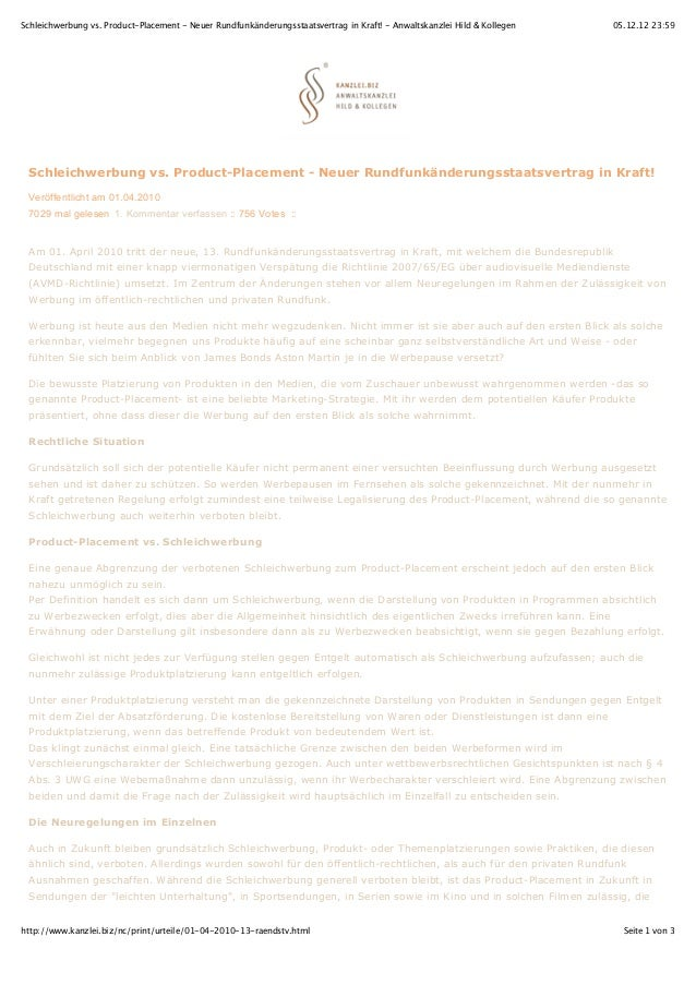 Schleichwerbung vs. Product-Placement - Neuer Rundfunkänderungsstaatsvertrag in Kraft! - Anwaltskanzlei Hild & Kollegen   ...