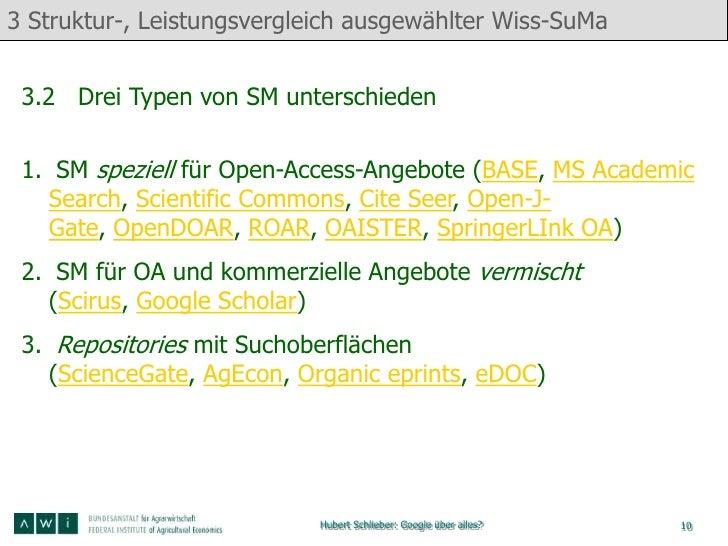 3 Struktur-, Leistungsvergleich ausgewählter Wiss-SuMa 3.2 Drei Typen von SM unterschieden 1. SM speziell für Open-Access-...